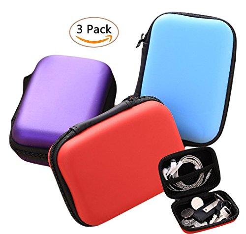 Earphone Carrying Case, Miniko(TM) [3 Pack] Portable Storage Hard Case Bag Holder Pouch for SD TF Card Earphone Headphone Earbuds iPod Bluetooth Headset and Charging (Retractable Ipod Earphones)