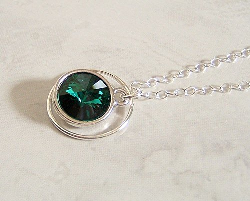 Fancy Green Round Swarovski Element Crystal 18 Inch Sterling Silver Necklace Faux Emerald Gift Idea