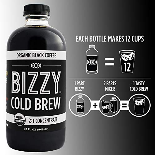 Bizzy Organic Cold Brew Coffee | Concentrate | Perfect for Protein Shakes & Smoothies | Makes 12 Cups, 32 Fl Oz (Pack of 1)