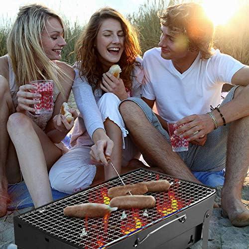 BUTTERFLYSILK Noir Barbecue Grill Extérieur Charcoal Grill Pliable Portable Facile à Assembler et à Nettoyer BBQ Grill pour Picnic Jardin Camping Party Beach Outdoor