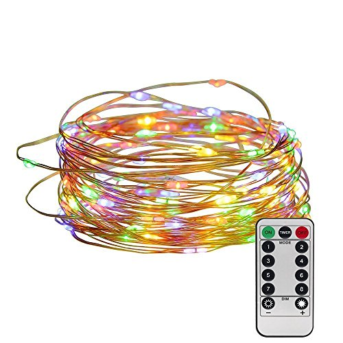 String lights 33ft 100 LEDs, Furnizone Dimmable Colorful Twinkle Light Wire Copper Light with Remote Control Battery Operated for Outdoor Lawn Bedroom Wedding Party Decoration Multicolor (Halloween Decorated Mantels)
