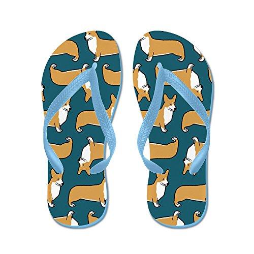 Cafepress Corgipillow2 - Flip Flops, Roliga Rem Sandaler, Strand Sandaler Caribbean Blue