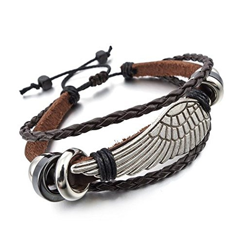 Young & Forever Men's Valentine Angelic Collection Valentines Day Leather Wrap Bracelet by Young & Forever