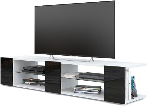 Mesa para TV Lowboard Movie V2, Cuerpo en Blanco Mate/Frentes en Negro de Alto Brillo: Vladon: Amazon.es: Hogar