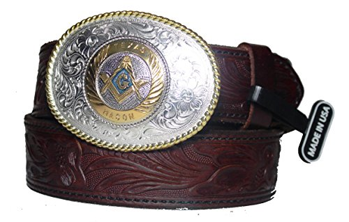 Custom Texas Mason 1 1/2 inch mahogany western Belt and Buckle Made in the USA Size 42 (Custom Made Belt Buckles)