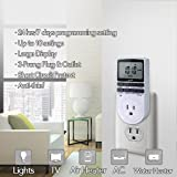 Electrical Outlet Timer - 7 Days Plug-in Timer Switch Outlet with 3-Prong for Air Conditioner, Lights, Applicance Timer with Large LCD Display Plug Outlet Timer 120V Outlet Timer Daily/Weekly Schedule