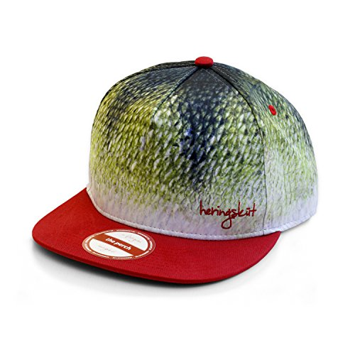 heringsküt - Adjustable Fishing Hat Baseball Cap Snapback | Gift for Fishermen | Angling Fishing Tackle Accessories Clothing Streetfishing | Realistic Fish Scale Print | Perch Bass