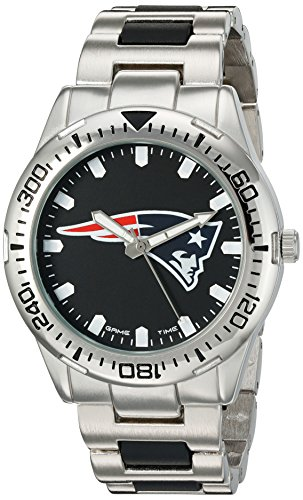 New England Patriots Mens Watch (Game Time Men's 'Heavy Hitter'  Metal and Alloy Quartz Analog  Watch, Color:Silver-Toned (Model: NFL-HH-NE))