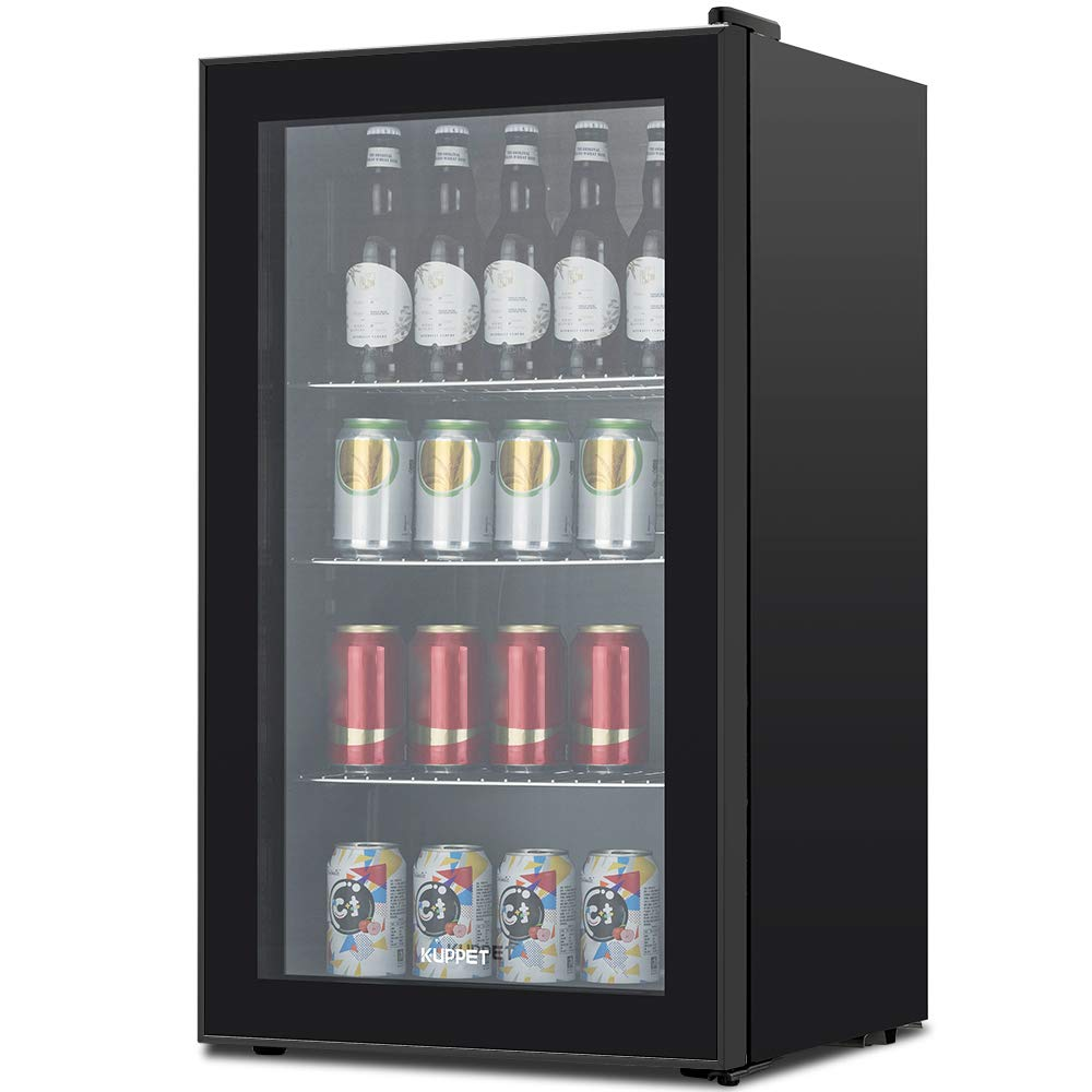 KUPPET 120-Can Beverage Cooler and Refrigerator, Small Mini Fridge for Home, Office or Bar with Glass Door and Adjustable Removable Shelves, Perfect for Soda Beer or Wine, Black, 3.1 Cu.Ft by KUPPET