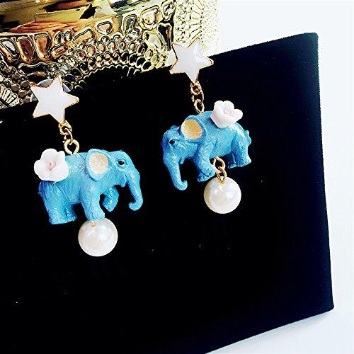 Faux Pearl Button Earrings (five-pointed star sexy baby elephant animal long earrings women girls fashion faux pearl necklace pendant earrings)