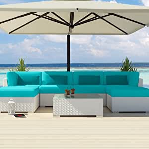 Uduka Outdoor Sectional Patio Furniture White Wicker Sofa Set Diani Turquoise All