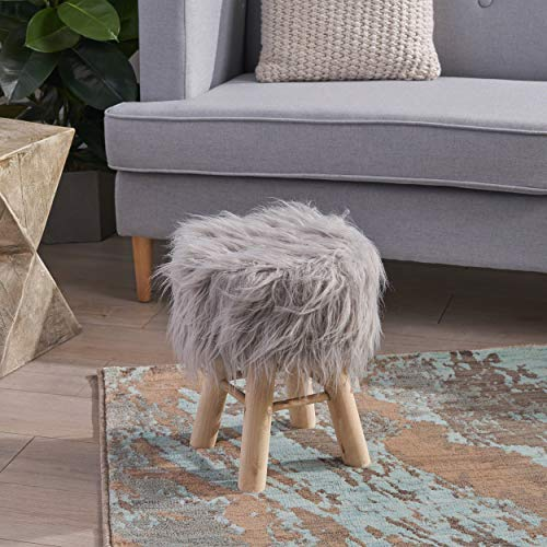 Great Deal Furniture 305729 Lang Stool with Furry Plush, Silver, Natural