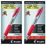 Pilot G2 Retractable Premium Gel Ink Roller Ball Pens, Extra Fine, 24 Pack, Red
