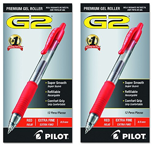 Pilot G2 Retractable Premium Gel Ink Roller Ball Pens, Extra Fine, 24 Pack, Red
