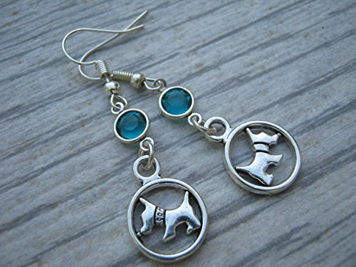 Scottish Terrier Birthstone Earrings, Personalized West Highland Terrier Dog Earrings, Scottie Westie Pet Jewelry