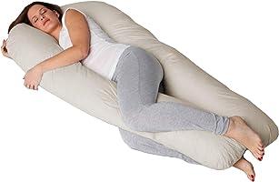 Travesseiro de Corpo Gestante Formato U com Fronha Cor Palha - Fassini Têxtil