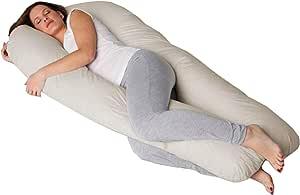 Travesseiro de Corpo Gestante Formato U com Fronha Cor Creme - Fassini Têxtil