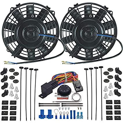 8 Inch American Volt Dual Reversible 12V Electric Engine Radiator Cooling Fan /& Adjustable Thermostat Switch Kit