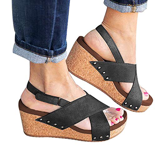 Athlefit Women's Strap Wedges Sandals Platform Faux Leather Cork High Heels Size 6.5 Black