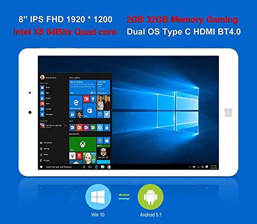 "ChuwiUSA Pro 8"" IPS FHD (1920 X 1200) Intel X5 Atom Z8350 Quad Core, Windows 10/Android 5.1 2G RAM,32G ROM eMMC, 2.0M Webcams, WiFi,Type-C and Micro HDMI Port,Kids Tablet PC -  CWHi8PRO232WA"