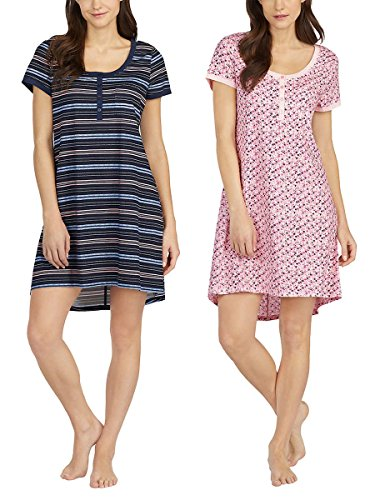 Lucky Brand Ladies' 2 Pack Sleep Shirts (Pink Floral/Blue Skyline, XX-Large)
