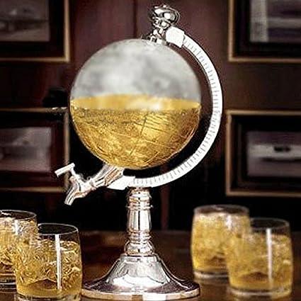 Dispensador de bebidas con forma de bola del mundo para agua, cerveza, vino,