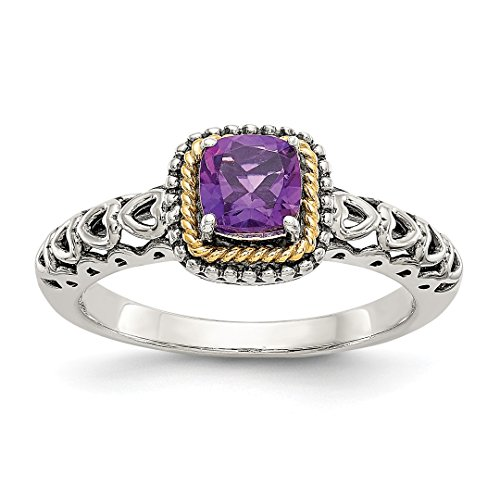 - 925 Sterling Silver 14k Purple Amethyst Band Ring Size 7.00 Stone Gemstone Fine Jewelry For Women Gift Set