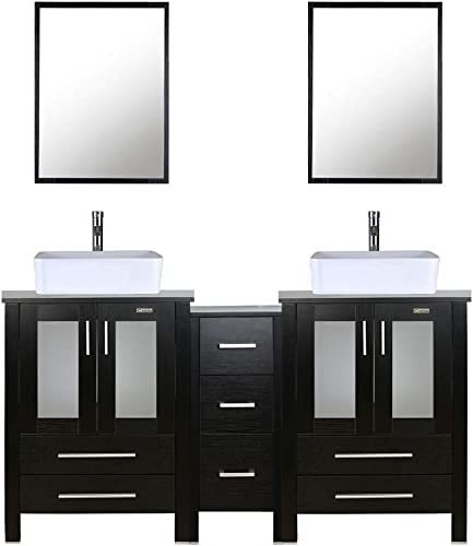 60″ Double Vanity 2 24″ Vanity,2 Porcelain Vessel Basin Sink,1 12″ Side Cabinets ,Double Bathroom Vanity Top