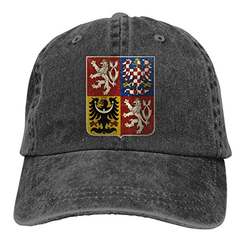 USHMX Czech Republic Coat of Arms and Starry Nights Shield Cotton Washed Vintage Unisex Baseball Cap Adjustable Dad-Hat - Czech Of Arms Coat