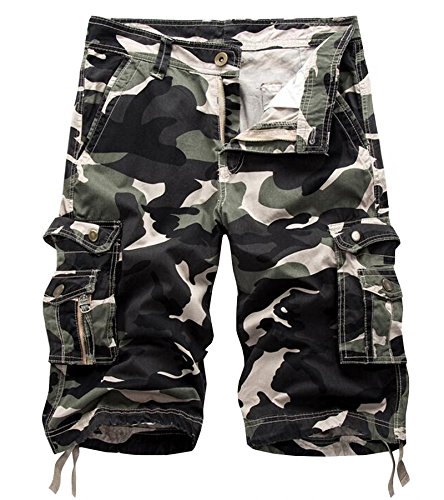 AOYOG Mens Multi-Pocket Camo Cargo Shorts Casual Loose Fit Camouflage Short Cotton (38, Light Army Green Camouflage #083)