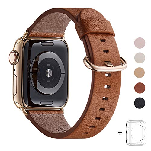 WFEAGL Compatible iWatch Band 42mm 44mm, Top Grain Leather Band with Gold Adapter (The Same as Series 4 with Gold Stainless Steel Case in Color) for iWatch Series4/3/2/1 (Brown Band+Gold Adapter)