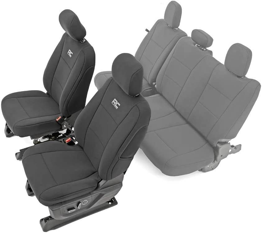 Rough Country 91016 Neoprene Seat Covers Black Front 2015-2020 F150 Exact Fit Water Resistant