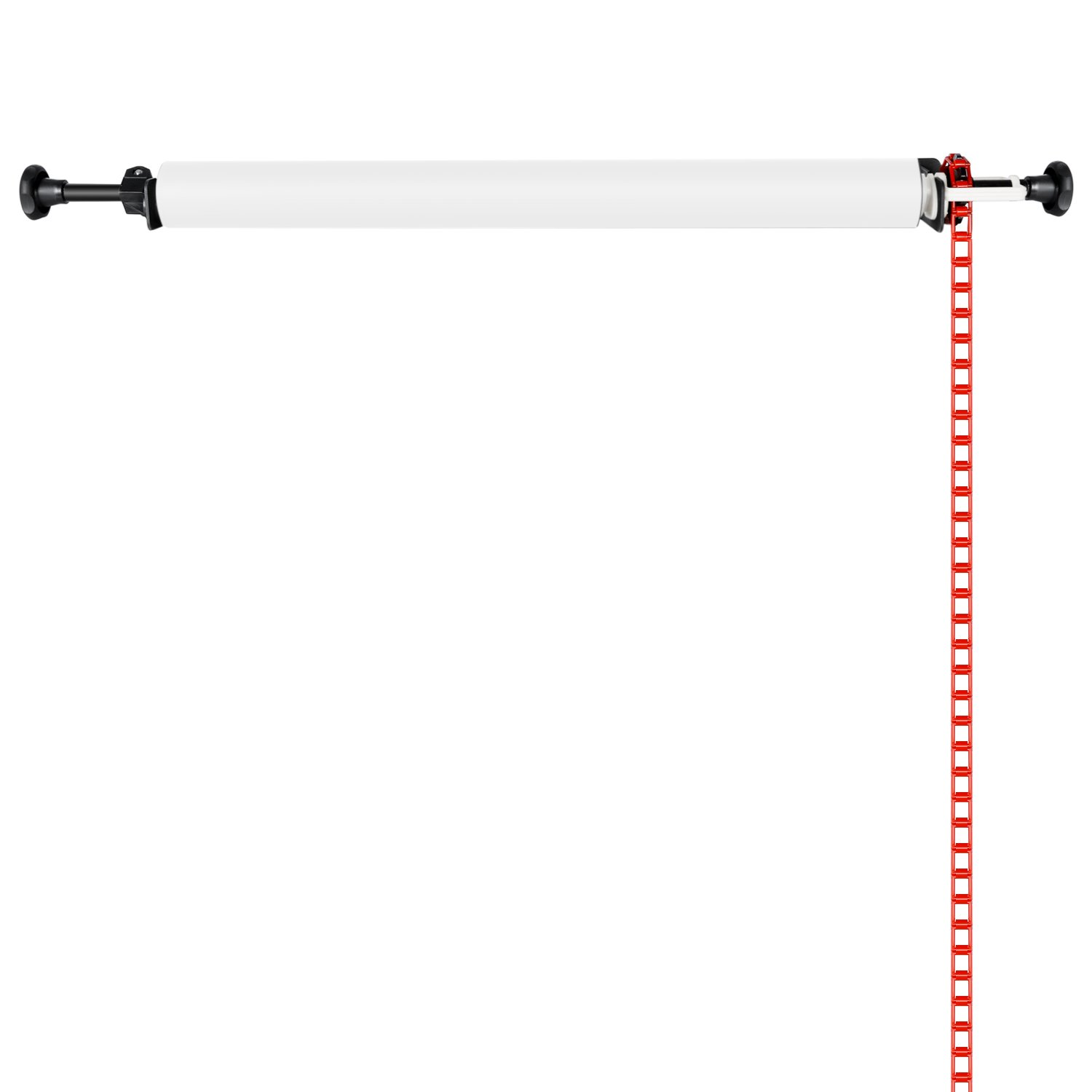 Neewer® Photography Single Roller Wall Mounting Manual Background Support System, including Two(2) Single hooks, Two(2) Expand bars, One(1) Chain, Eight(8)Clamp Screws.