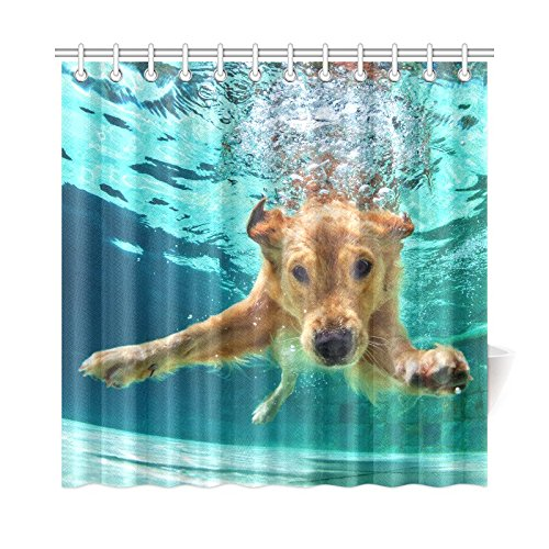 INTERESTPRINT Animal Dog Home Decor, Funny Labrador Retriever Puppy Dog Underwater Waterproof Polyester Bathroom Shower Curtain Bath with Hooks, 72(Wide) x 72(Height) Inches