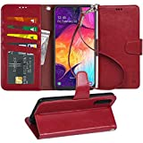 Arae Wallet Case for Samsung Galaxy A50 PU Leather flip case Cover [Stand Feature] with Wrist Strap and [4-Slots] ID&Credit Cards Pocket for Samsung Galaxy A50 (Wine red)