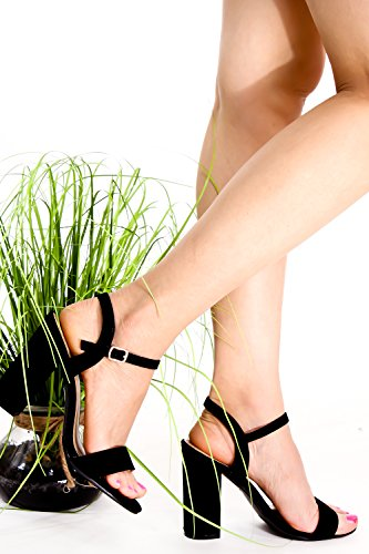 LOLLI COUTURE SUEDE OPEN TOE ANKLE STRAP CUTOUT BACK CHUNKY HIGH HEELS SHOES Blacksuede H8fioAArp