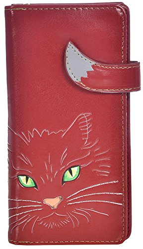 Shag Wear Women's Animal Inspired Large Zipper Wallet Green Eyed Kitty Red