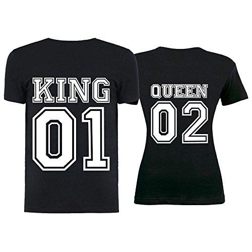 T Con Magliette shirt San Personalizzate Bianche Uomo Coppia Valentino Donna Innamorati Queen Nero Per E King Numero Nere Di O And 1wB77pqn65