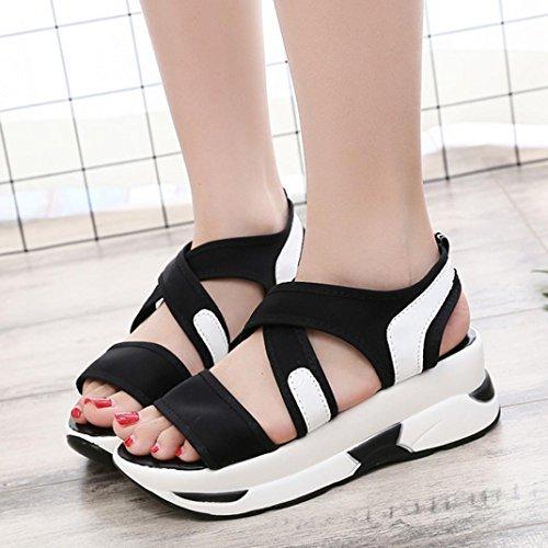 BZLine® Frauen Casual Breathable Sport Schuhe Wedges Sandalen Plattform Sandalen Schwarz