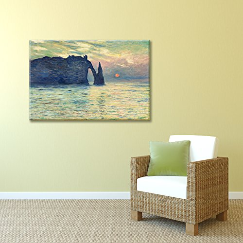 The Cliff Etretat Sunset by Claude Monet Print Famous Painting Reproduction