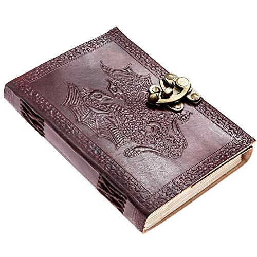 Dragon Journal - Dragon Leather Journal Handmade Daily Notepad for Men & Women Unlined Paper 7 x 5 Inches,Gift for Art Sketchbook, Travel Diary & Notebooks Sketchbook