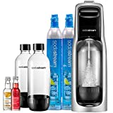 SodaStream Jet Sparkling Water Machine Bundle (Silver) with CO2, BPA free Bottles, and 0 Calorie Fruit Drops Flavors