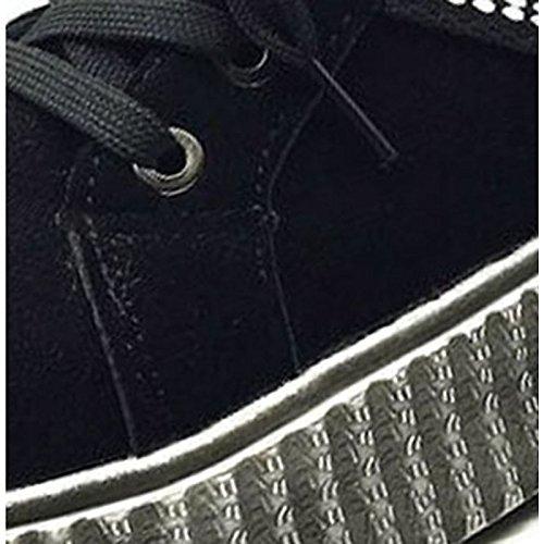 ZHZNVX hsxz Damen Schuhe aus aus aus Wildleder, Combat-Stiefel, mit Fell gefüttert, für, schwarz braun 1574de
