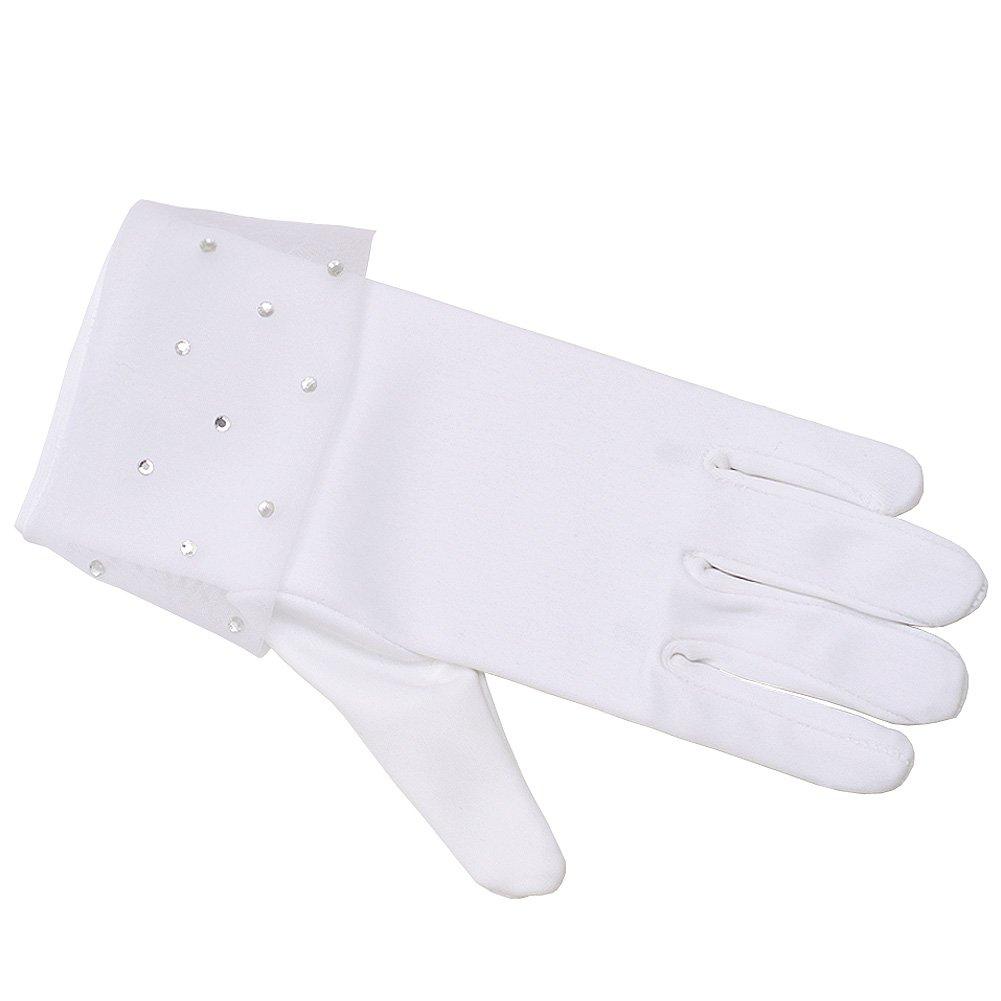 Angels Garment Big Girls White Sequin Flower Girl Communion Gloves 8/14