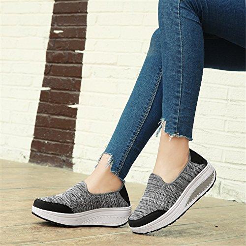 Slip F On grandi Spring Traspirante donna Scarpe Girl Fall Shoes Casual Tulle da Aumentare dimensioni Academy Scarpe Knit Altezza Sneakers SHINIK di n10YqH
