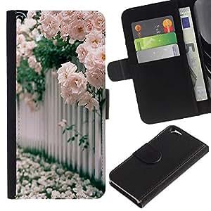 EJOY---La carpeta del tirón la caja de cuero de alta calidad de la PU Caso protector / Apple Iphone 6 / --Rosas Blanco Rosa Floreciente