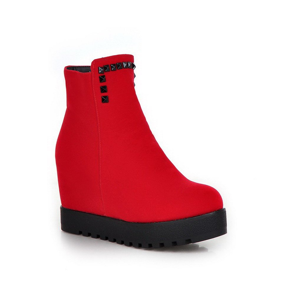 VogueZone009 Women's Solid Frosted Boots with Wedge and Glass Diamond, Red, 43