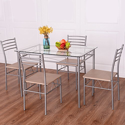 Giantex 5 Piece Dining Set Table And 4 Chairs Glass Top Kitchen Breakfast Furniture (And Rectangle Table Chairs Kitchen)