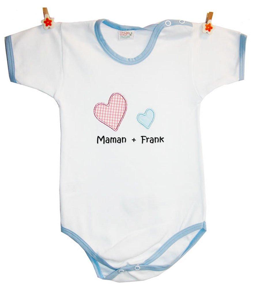 Zigozago - Body Bébé avec la broderie 'MAMAN + nom de bébé personnalisé' 100% coton