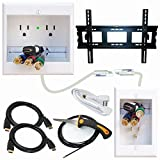 PowerBridge Solutions TWO-CK-IKH2TVML Dual Outlet Cable Management System with Flat Screen LED TV Mount for 32-Inch to 65-Inch Television Screens Plus HDMI Cables, Cable Puller, and Drywall Saw